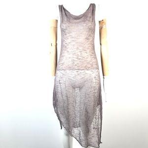 Sarah Pacini mesh sheer dress cowl neck asymmetric